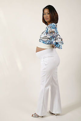 JULIET DREAM White Maternity Trouser - Size Large- 29.5 Inseam