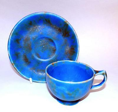 Clews Chameleon Ware Art Pottery Cup and Saucer in Cobalt Blue