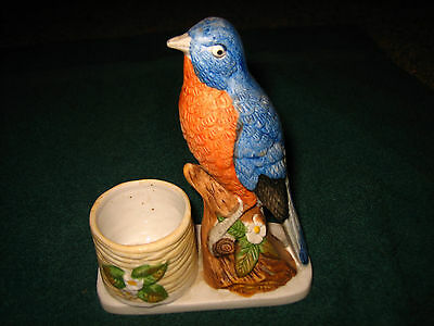 Vintage 1979 Hand Painted Bluebird Candle Holder~By Jasco Luvkin Songbirds~L@@k~