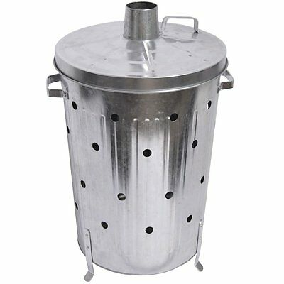 Garden Waste Fire Bin Burner Metal Incinerator Dustbin Paper Galvanised