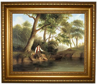 Duncanson Man Fishing 1848 Framed Canvas Print Repro 16x20