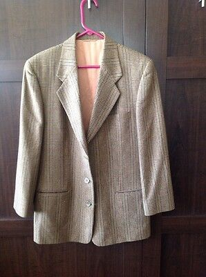 VINTAGE MARK SHALE Glen Plaid Harris Tweed Wool 3-button Women's Blazer Size 12