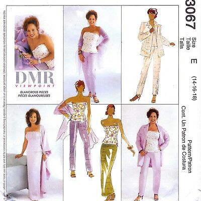 Vtg 2000 UC McCalls Pattern 3067 Bustier Stole Jacket Skirt Pants Sz 14 16 18