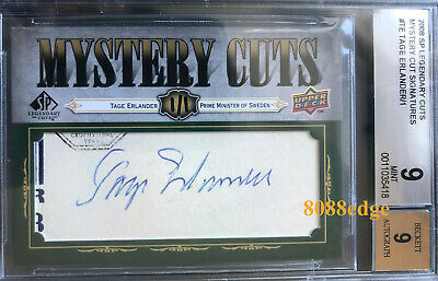 2008 Mystery Cuts Autograph Auto: Tage Erlander #1/1 Sweden Prime Minister Bgs 9