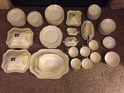 Vintage Steubenville Gold & Ivory, Scalloped Edge China - Over 90 Pieces!