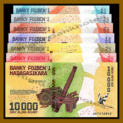 Madagascar 100 200 500 1000 5000 10000 Ariary 7 Pcs Set, 2017 P-New Colorful Unc