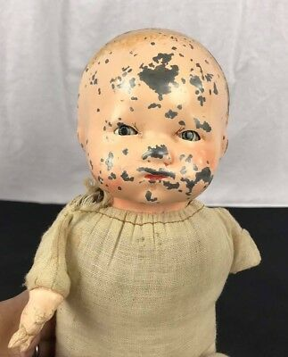 Antique metal head baby doll cloth composition body vintage size 13""