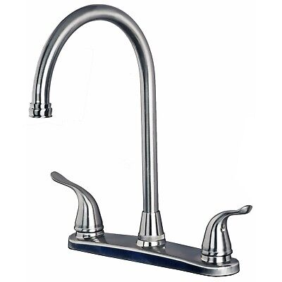 CLASSIC ALL METAL High Arc Swivel Kitchen Faucet for 3 Hole ...
