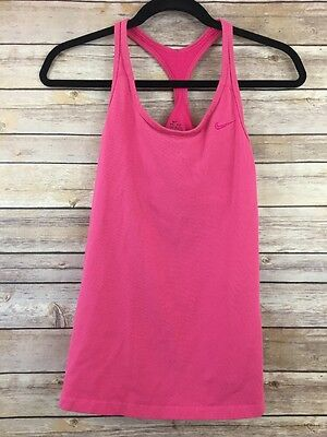 Nike Dri Fit Womens Size Medium M Pink Shelf Bra Sleeveless Racerback Tank Top