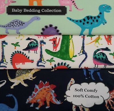BABY SET NEW Dinosaur Rex Cotton FITTED Sheet Bedding Cot Bassinet Crib Toddler