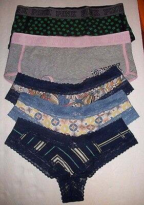 MIXED LOT of 5 Victoria's Secret CHEEKY & HIPHUGGER Panty LARGE  #6