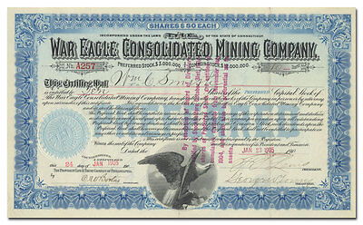 War Eagle Consolidated Mining Company Stock Certificate