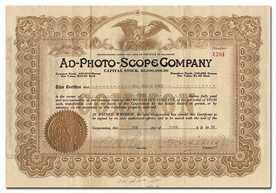 Ad-Photo-Scope Company Stock (Motion Picture Machine)