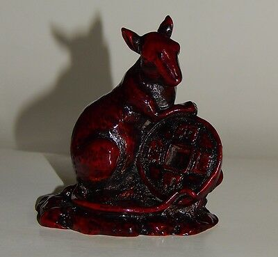 "3 1/4"" Red Resin RAT Chinese Coin Statue Figurine (Ear Repaired)"
