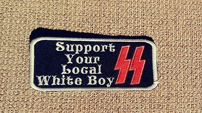 Support Your Local White Boy Patch.Bolts HARLEY Outlaw 1%er Viking, Odin, Thor