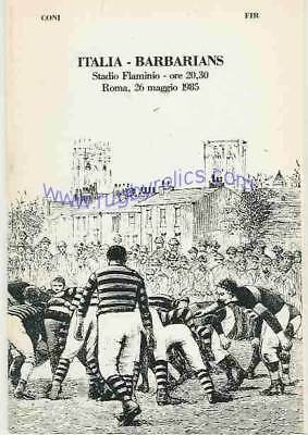 Italy v Barbarians 26 May 1985 Rome RUGBY PROGRAMME