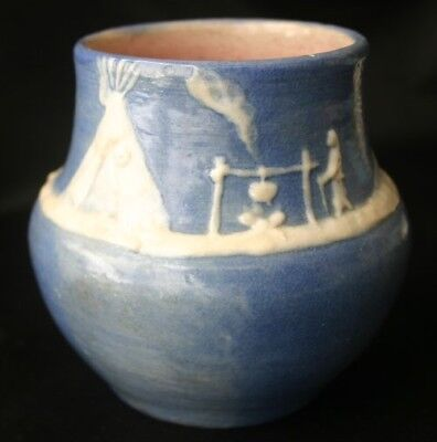 PISGAH FOREST Pottery Cameo Vase Indian Campfire