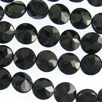 Black Onyx Gemstone 10mm Faceted Coin Beads 71211