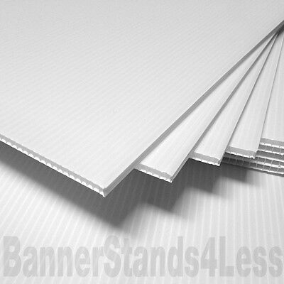 "25 pcs 24x18 Corrugated 4mm Yard Bandit Sign Board Blank Sheets WHITE 18"" Flute"