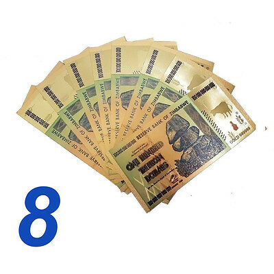 8 Pieces Zimbabwe 100 Trillion Gold Banknote Plated Pure 24K Coloured (Zm1Clr8)