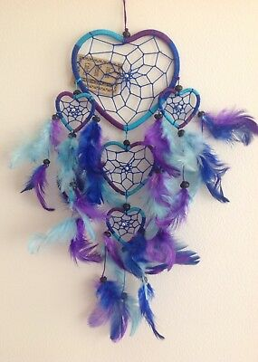 Blue Aqua & Purple Nylon Heart Dream Catcher Silver & Wood Beads 40cm Length
