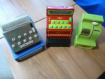 LOT of 3 TIN TOY CASH REGISTER BANK  Bucky Beaver - Tom Thumb - Super