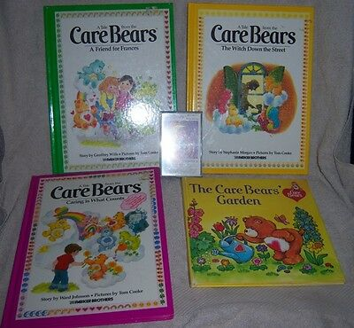 Care Bears Lot of 4 Vintage Books plus 1 Vintage Sing Along Care Bears Tape