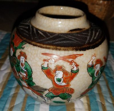 Vintage Japanese Satsuma Tea caddy/ Ginger Jar c.1890 Stamped