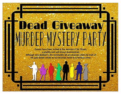 Murder Mystery Party Game for 8 people: Dead Giveaway *NEW PROFESSIONAL DESIGN**