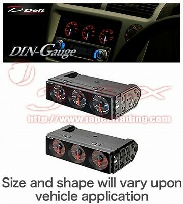 Defi Din Gauge Triple Meter Face: Black /Needle: White /Numerals: White DF14401