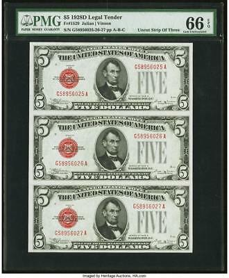 1928 D Red Seal $5 Five Dollar Legal Tender Notes ~ PMG 66 EPQ Uncut sheet of 3