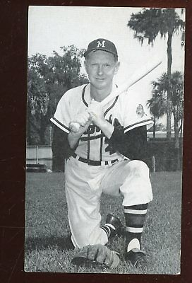 Late 1950's JD McCarthy Postcard Red Schoendienst Milwaukee Braves Autographed
