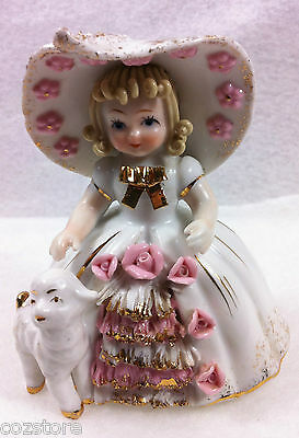 Lefton China Mary Had A Little Lamb Hand Painted K1052 Vintage Rare 1950's