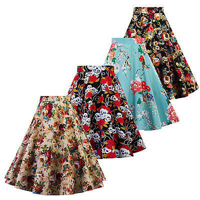 Vintage Womens 50s Retro Floral Skater Swing Dress Cocktail Party A-Line Skirt