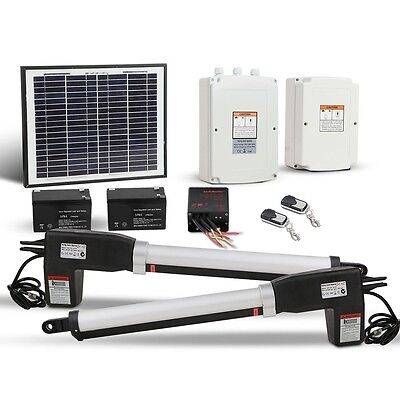 NEW 24V DC Solar Powered Automatic 2 Arm Swing Gate Opener w/ 3 Remote Controls