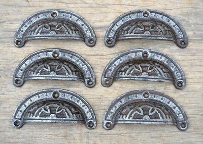6pcs Vintage Victorian Cast Iron Eastlake Cabinet drawer Bin Pull Cup handle 4""