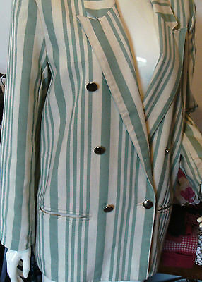 Cream & Green Lined jacket stylish blazer retro punk goth gold effect buttons