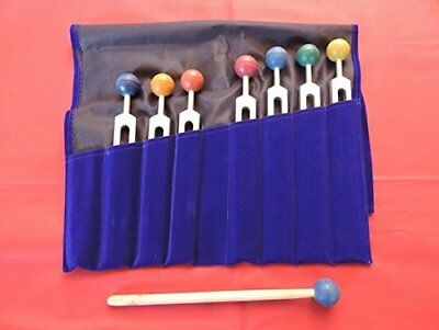 Chakra Tuning Forks Set - 7 Tuning Forks with Colored Chakra Balls and Free and