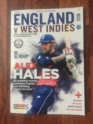 ENGLAND V WEST INDIES  PROGRAMME ROYAL LONDON ONE DAY SERIES 2017 Sept 19-29