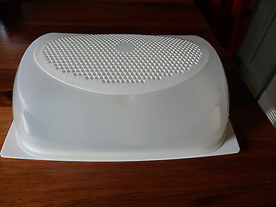 Large Tupperware Modern 3 Piece Cheese  storage container. Cream Top & Base.