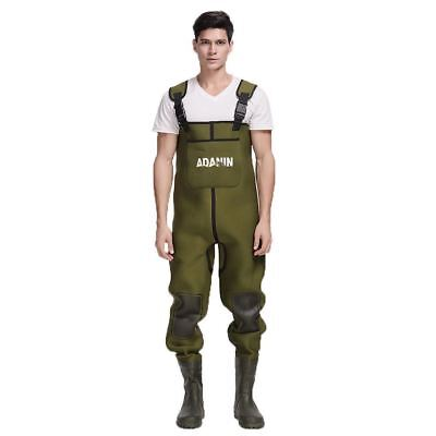 Mens Waterproof Green 4mm Neoprene Chest Waders Attached Rubber Fishing Boots