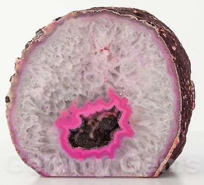"B1468 5.72"" 5.83lb Pink Cut Base Agate Geode Half Crystal Druzy Quartz Decor"