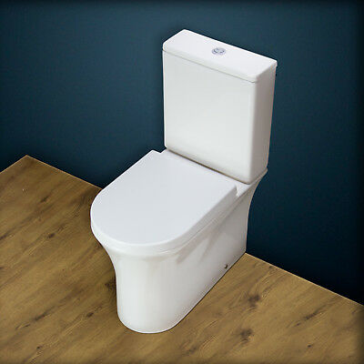 Toilet WC Bathroom Ceramic Close Coupled Compact Heavy Duty Seat  Rimless aT15