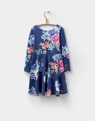 Joules 124403 Girls Ellie Long Sleeve Skater Dress in 100% Cotton in Navy Floral