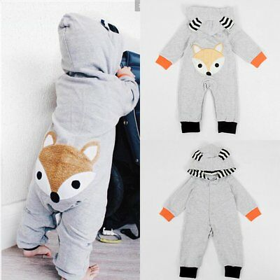 Newborn Infant Baby Boy Girl Fox Cotton Romper Jumpsuit Bodysuit Outfits Clothes