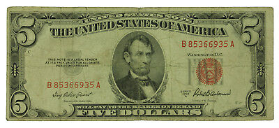 Lot Of (1) One 1953 A Series $5 United States Note.Circulated. SN# B85366935A