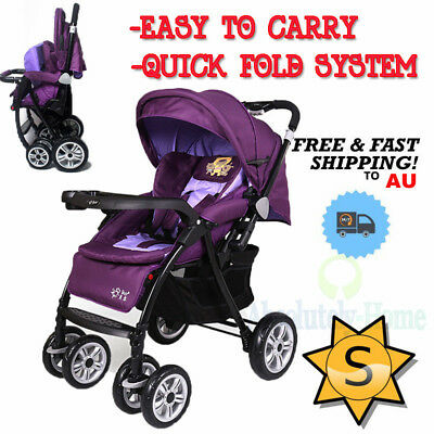 4 In 1 Baby Foldable Toddler Pram Stroller Jogger Aluminium With Bassinet Purple