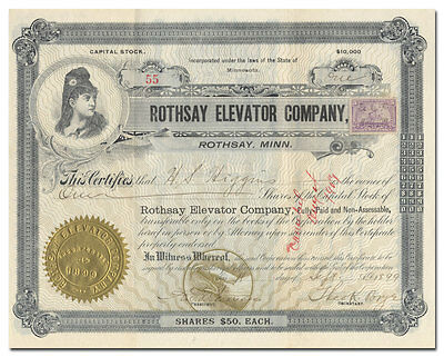 Rothsay Elevator Company Stock Certificate Signed by Theodore Brye (Minnesota)