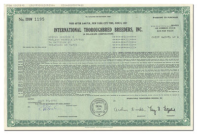 International Thoroughbred Breeders, Inc. Stock Certificate (Cherry Hill, NJ)