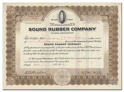 Sound Rubber Company Stock Certificate (Tacoma, Washington)